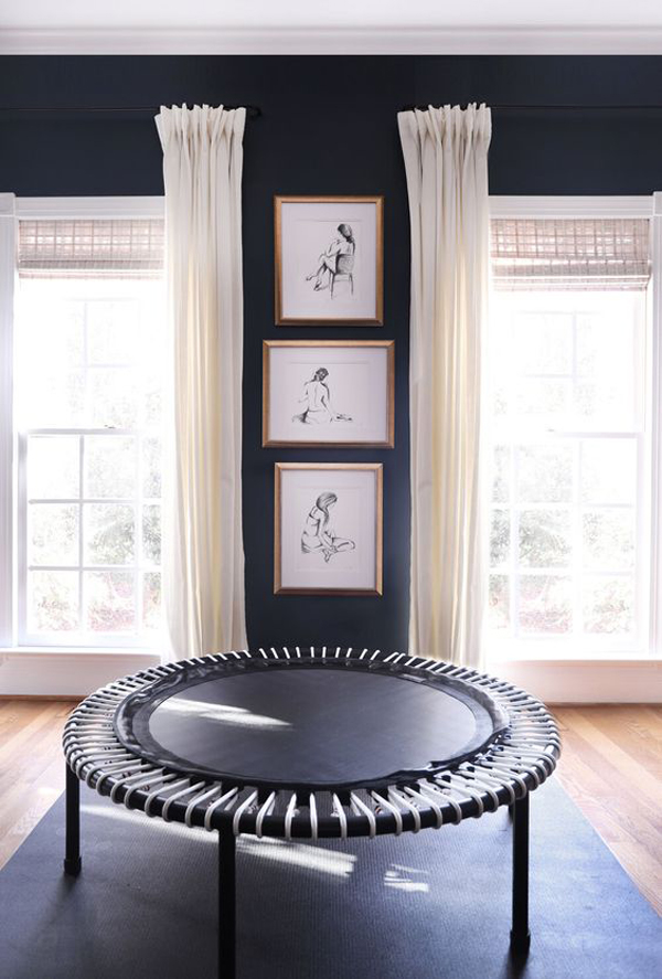 Exercise-room-with-placed-trampoline
