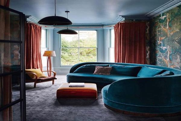Blue-velvet-family-room-sofa