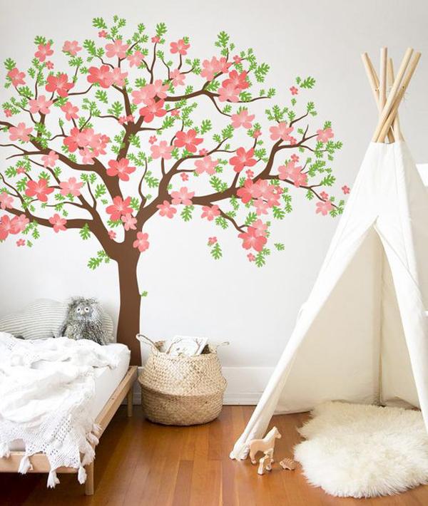 flower-murals-wall-kids-room-design
