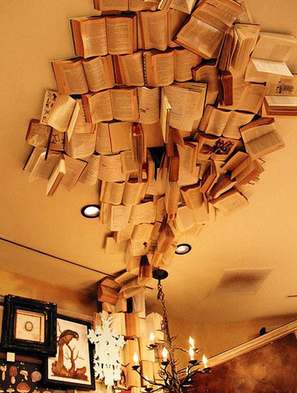 Adhered-book-on-the-ceiling