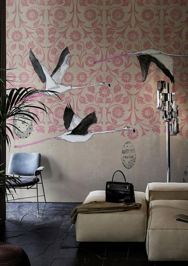 Artistic-birds-mural-wallpaper