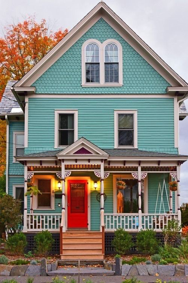 Blue-Victorian-house