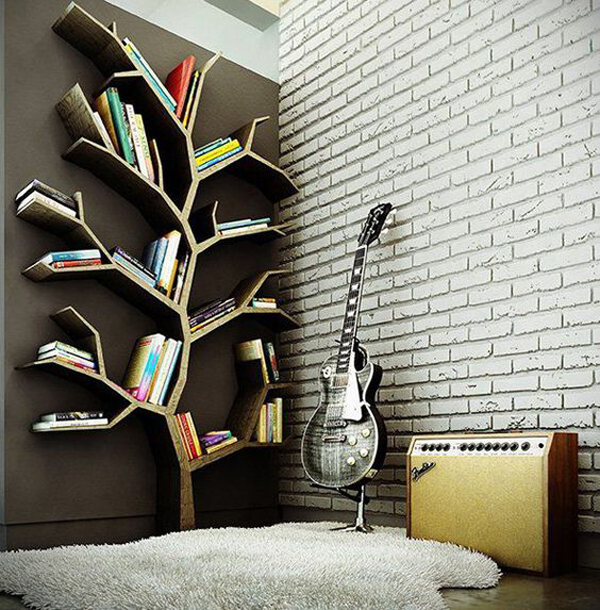 Bookcase-used-tree-branches-shapes