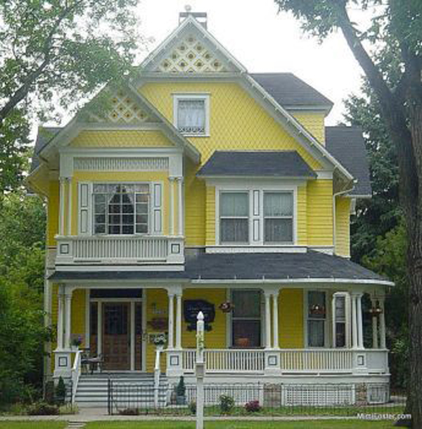Bright-yellow-Victorian-style-house