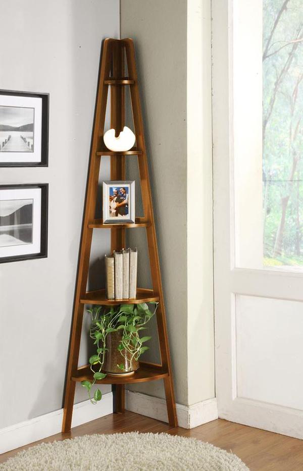 Brown-wooden-ladder-shelf