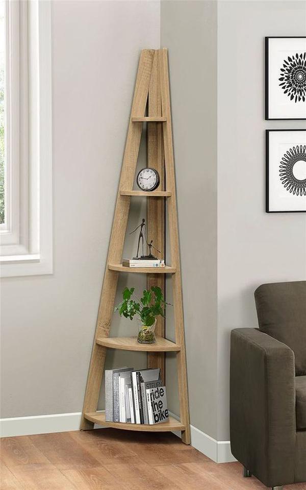 Corner-ladder-bookcase
