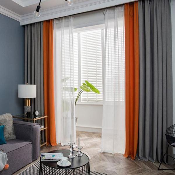 Gray-ans-orange-curtain-for-living-room