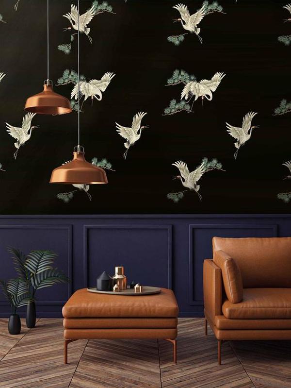 Japanese-print-Chinoiserie-birds-on-black-wallpaper