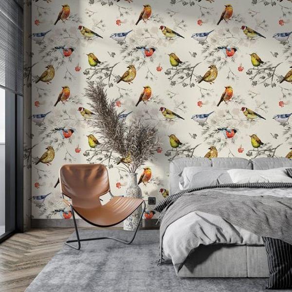 Peel-and-stick-birds-mural-wallpaper