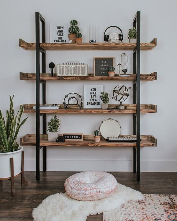 Wooden-bookcase-with-vintage-view