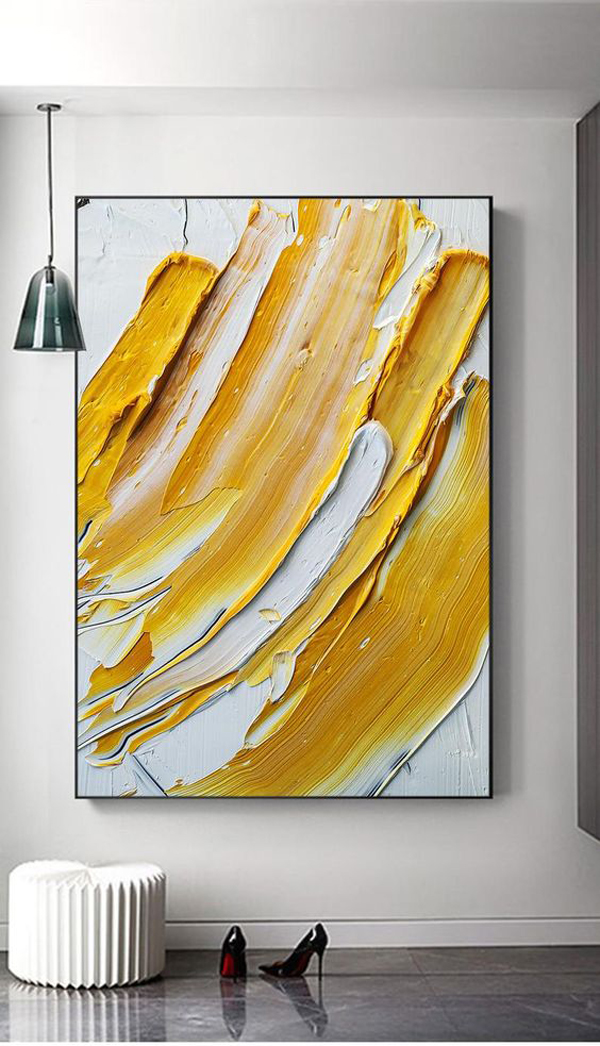 Abstract-painting-yellow-and-white-oil-paint