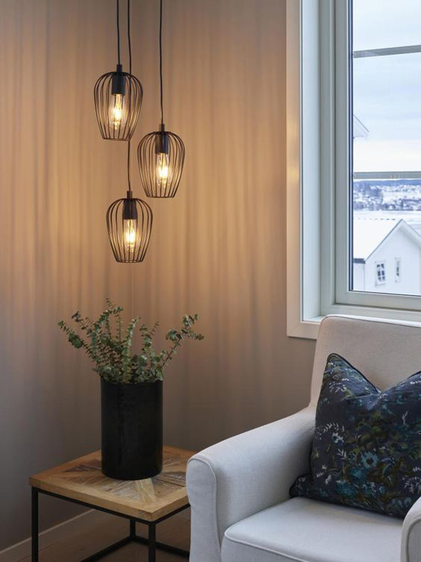 Living-room-hanging-lamps-with-unique-bulbs