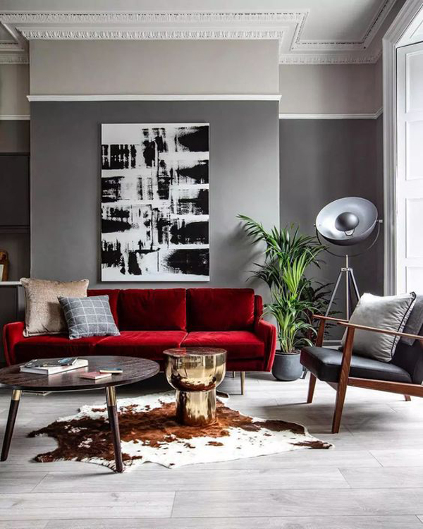 Red-sofa-in-the-gray-living-room-theme