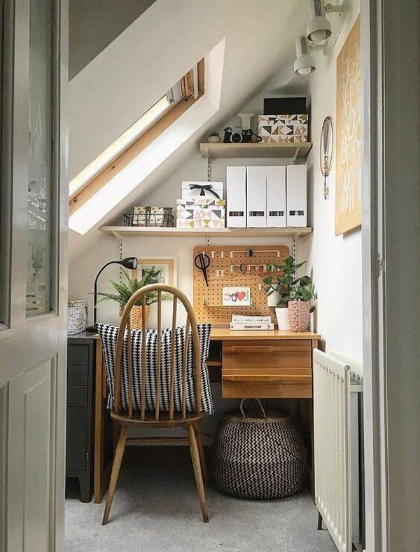 Study-desk-with-view-in-the-attic-room