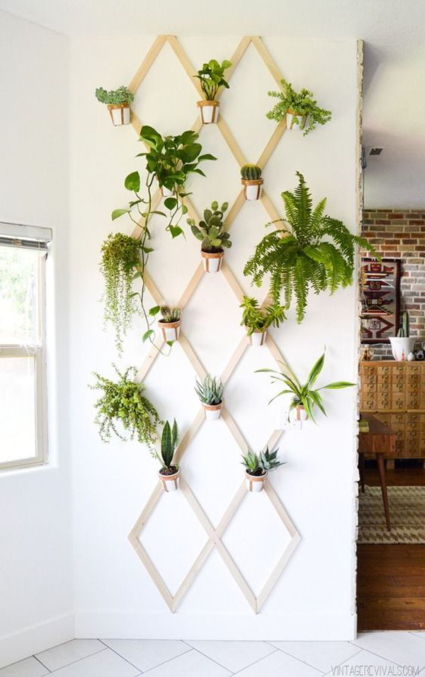 Wood-and-leather-trellis-plant-wall