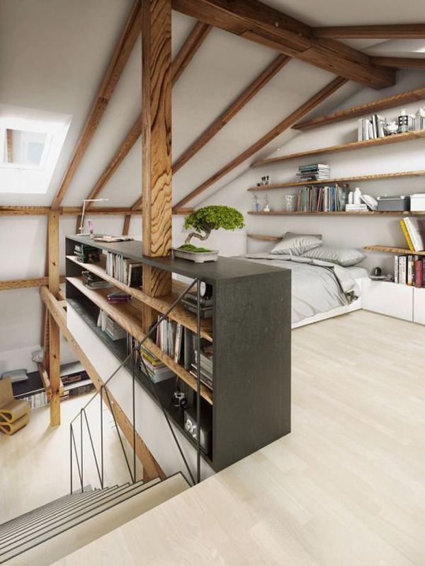 Wooden-staircase-in-the-attic