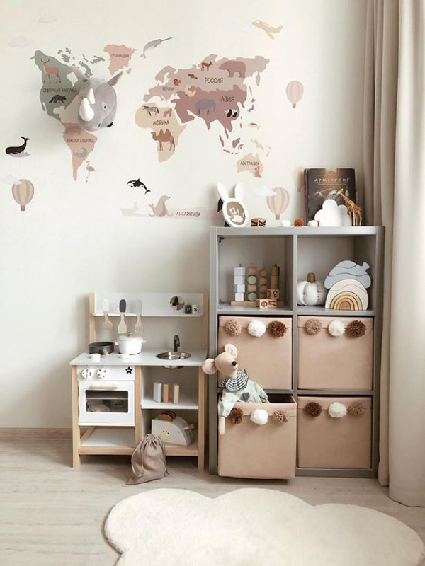 Kids-bedroom-storage-with-nude-color-theme