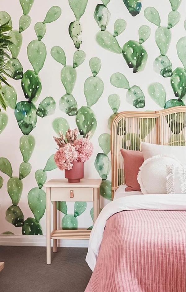 Bedroom-cactus-wallpaper-bedroom