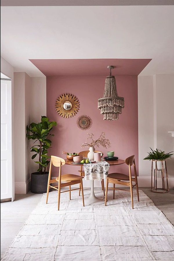 Dining-room-decoration-with-pink-and-white-combination