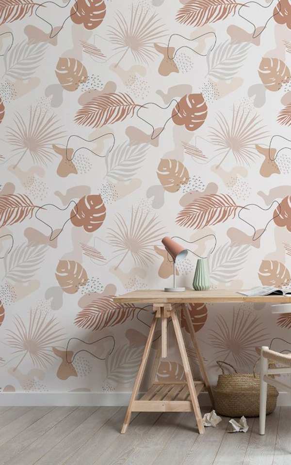 The-bedroom-wallpaper-with-monstera-motive