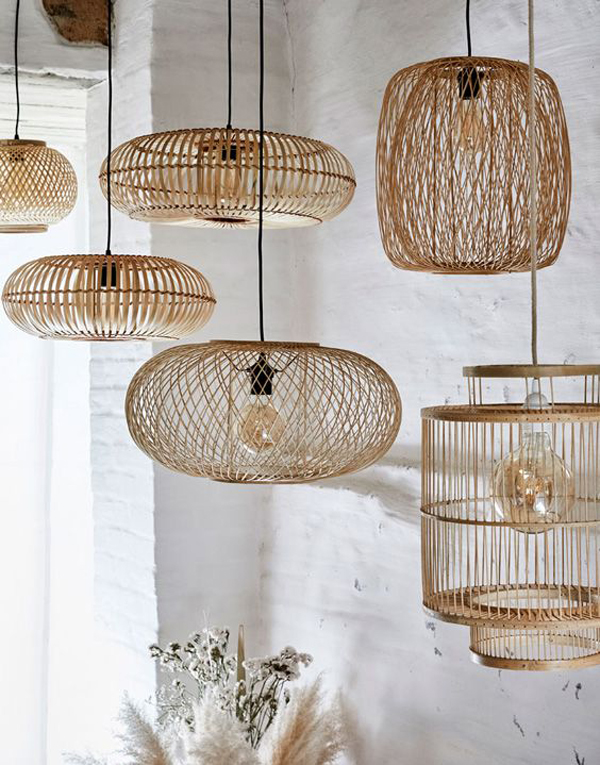 Wicker-rattan-lamps