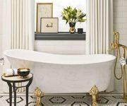 Bathroom-decoration-and-white-bath-tube