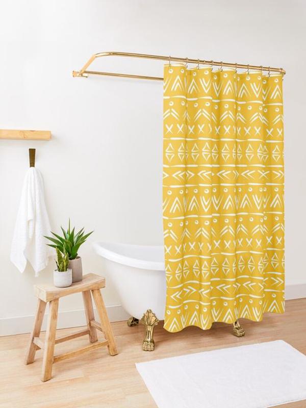 Mustard-yellow-and-white-shower-curtain