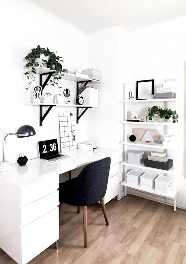 Organized-home-offices-with-white-and-black-theme