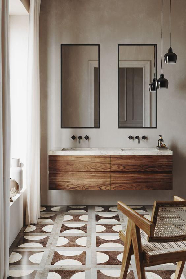 Washtube-design-with-wooden-table