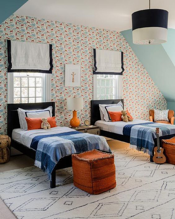 Black-and-orange-for-twin-beds