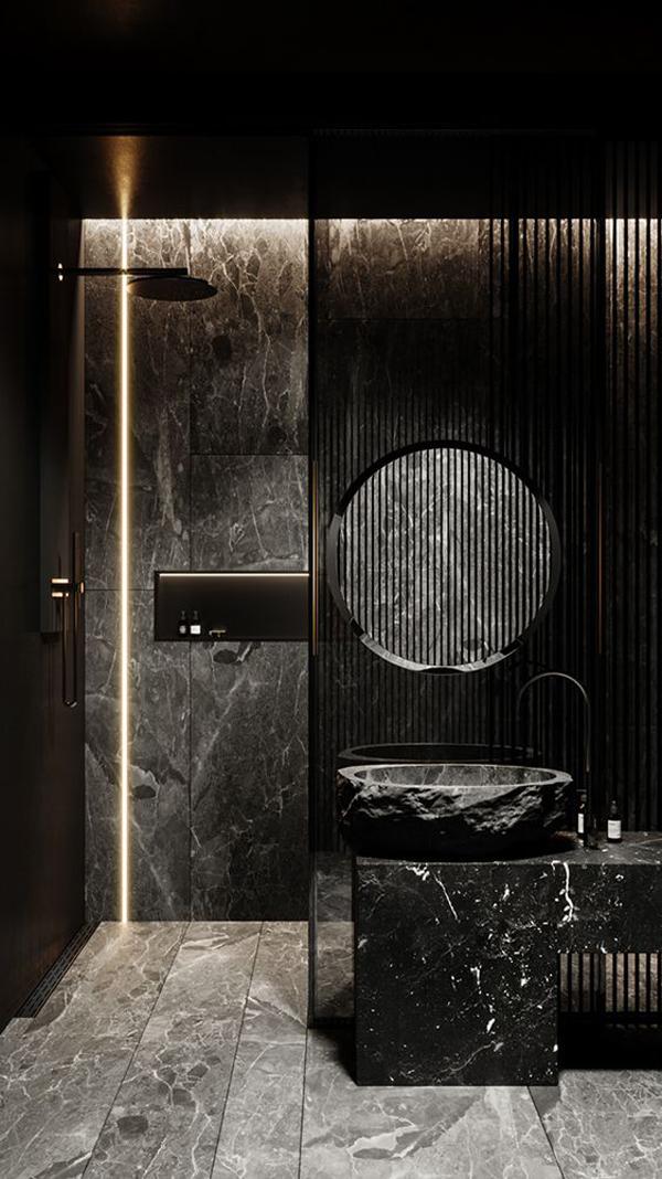 Black-marble-for-bathroom-interior