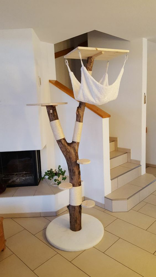 Cat-tree-with-small-hammock