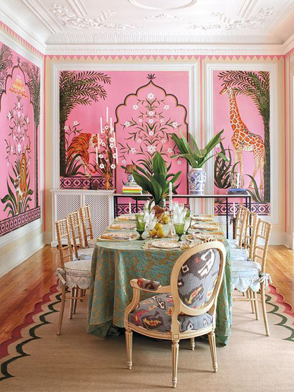 Luxurious-dining-room-design-with-pink-and-gold-theme