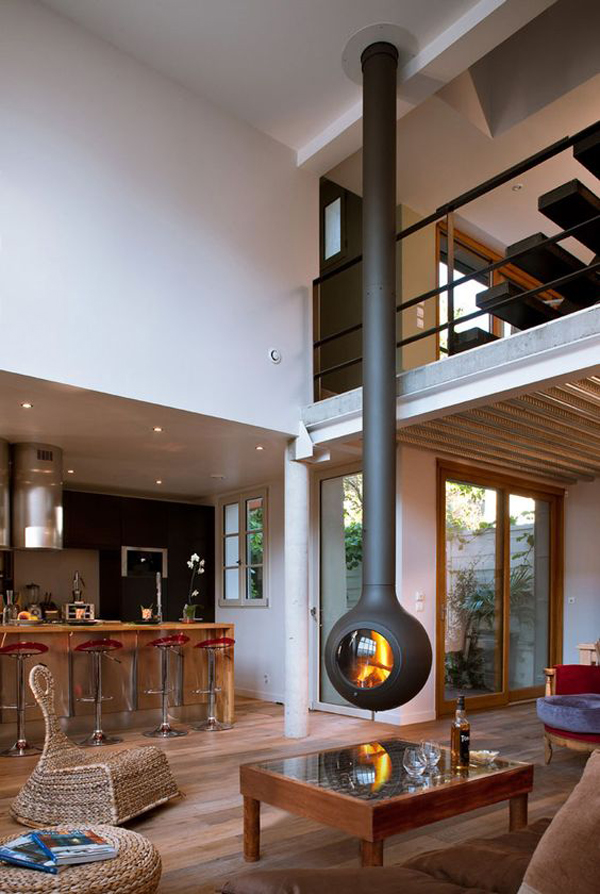 Hanging-fireplace-design-on-the-living-room-table